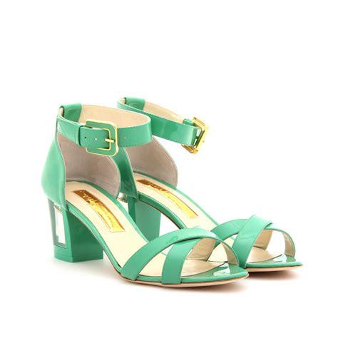 green sandals rupert sanderson vestal leather sandals with block heel in