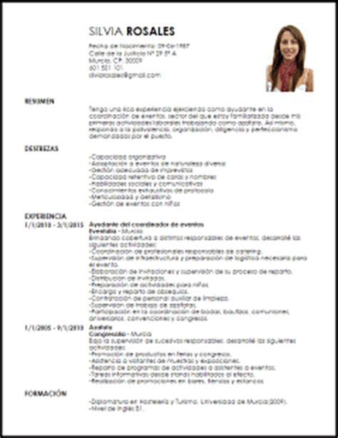 Modelo De Curriculum De Hosteleria Modelo Curriculum Vitae Ayudante En La Organizaci 243 N De Eventos Livecareer