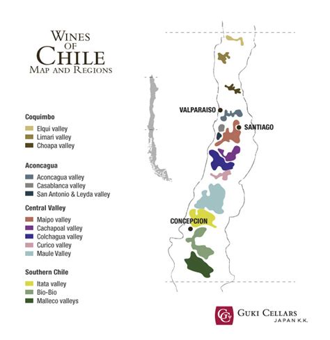 chile regions map chilean wines map and regions