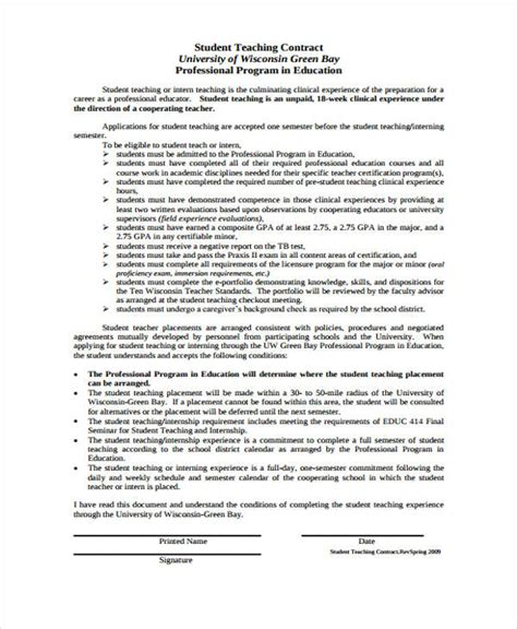 student contracts templates 8 contract templates free word pdf format