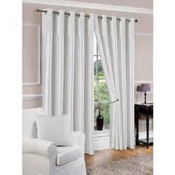 White Silk Curtains Derwent Faux Silk Fully Lined White Eyelet Curtains
