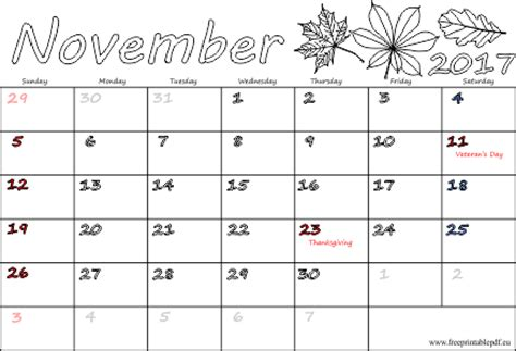Calendar November 2017 With Holidays November 2017 Calendar With Holidays 2018 Calendar Printable