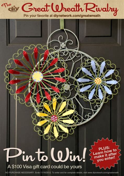 Where Is The Pin On A Visa Gift Card - pin a wreath and you could win a visa gift card enter diy network s great wreath