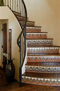 Tiles For Stairs Design Mexican Tile Stairs Iron Rod Instead Of Wood To Loft Home Decor Loft