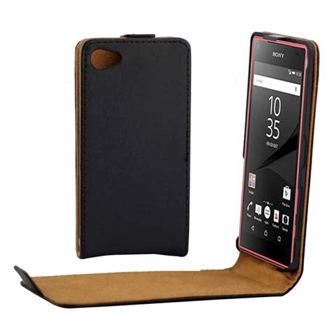 Sarung Flipcover Casing Xperia Z5 Minicompact khaki lining vertical flip magnetic buckle pu leather