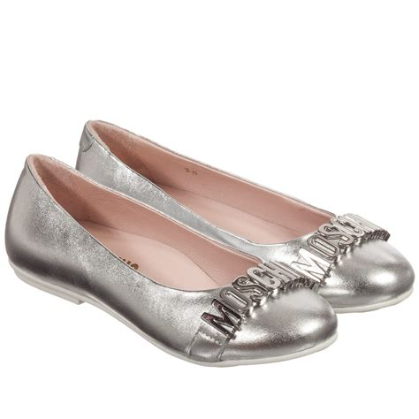 moschino kid metallic silver leather shoes