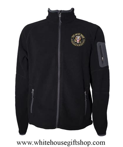 Jaket Seal Kanji White the white house presidential fleece jacket is midnight black with zippered pockets with secure