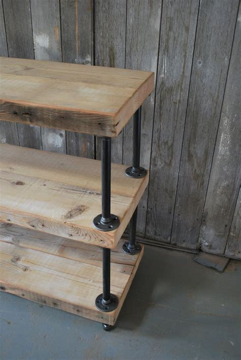 industrial pipe sofa table industrial reclaimed wood shelves 3 shelves