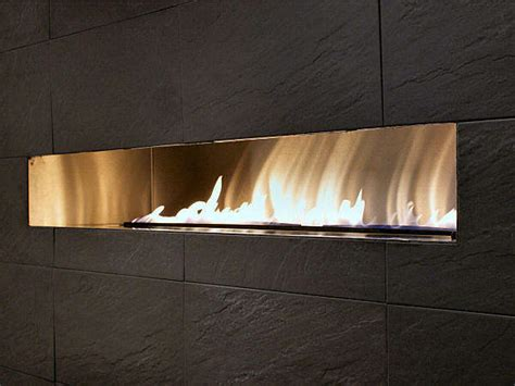 wave wide fireplace with tv above contemporary gas