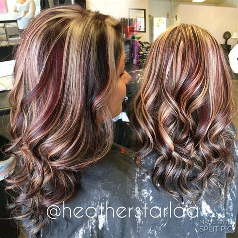 hair color swatches on pinterest short highlighted dark brown with red and blonde chunky highlights red hair