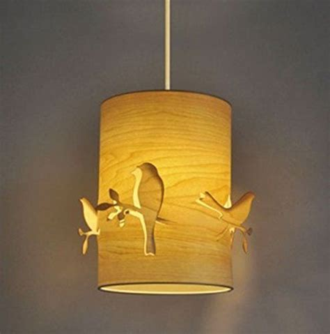 Wooden Ceiling Light Shades Beautiful Bird And Branch Cut Out Carved Modern Cylinder Wood Veneer Ceiling Pendant L Shade