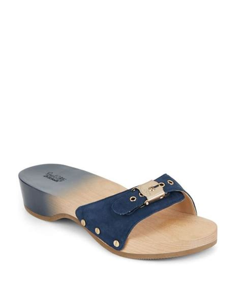 dr scholls wood sandals dr scholls original suede wood wedge slide sandals in