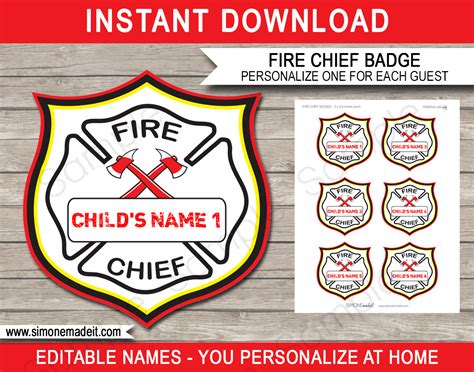 fire chief badges printable fireman birthday party