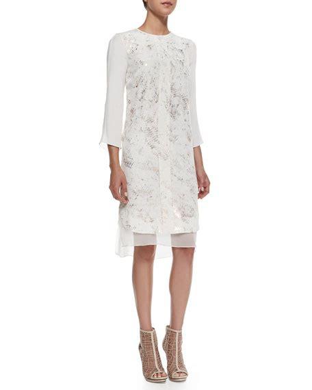 Print 3 4 Sleeve Chiffon Dress chiffon foil print 3 4 sleeve dress