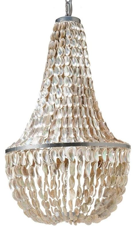 Abalone Chandelier Saizaun Abalone Seashell Chandelier White Large Style Chandeliers Other By Kouboo