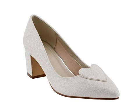 Wedding Shoes With Heel Detail by Rainbow Club Birdy Block Heel Ivory Shimmer Wedding Shoe