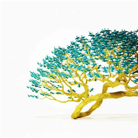 Origami Crane Tree - 1000s of miniature origami cranes turned into