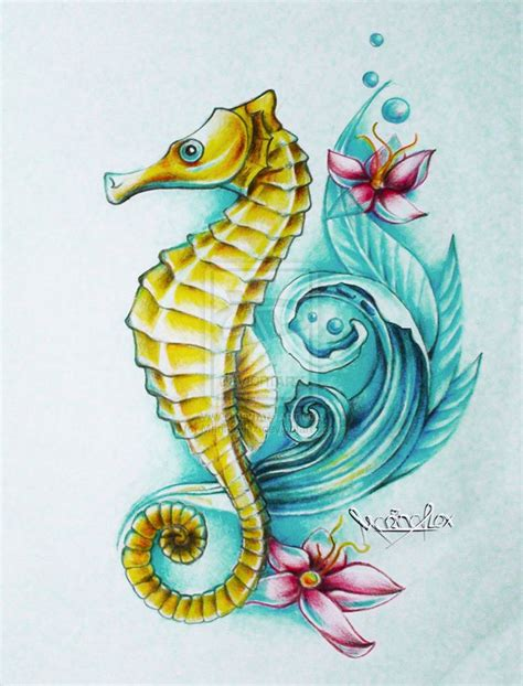 seahorse tattoo design best 25 seahorse drawing ideas on