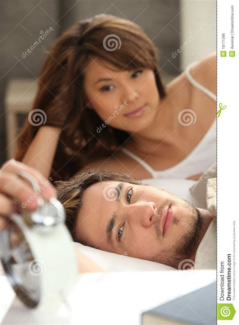 layed in bed young couple laid in bed royalty free stock image image