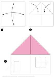 Paper Folding House Template - origami house free printable papercraft