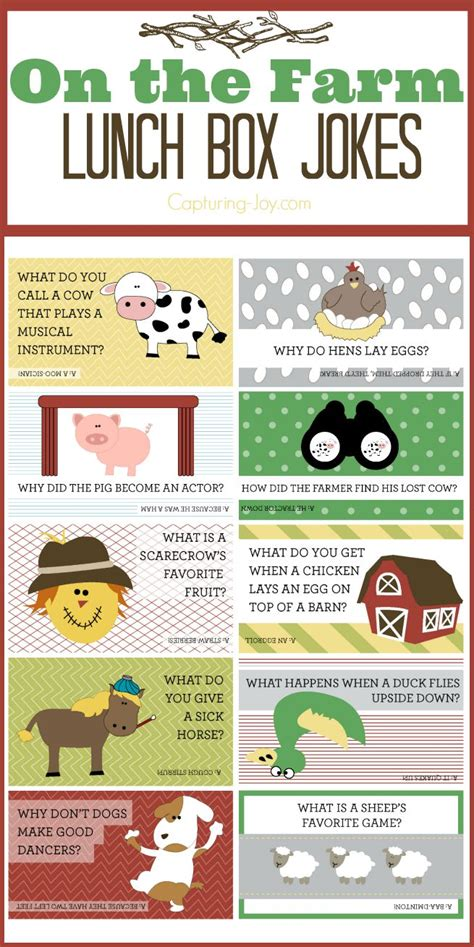 printable lunch notes jokes on the farm free printable lunch box jokes jokes the