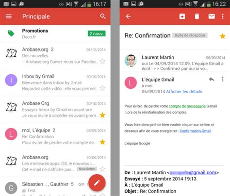 gmail android l app gmail pour android test et avis arobase org