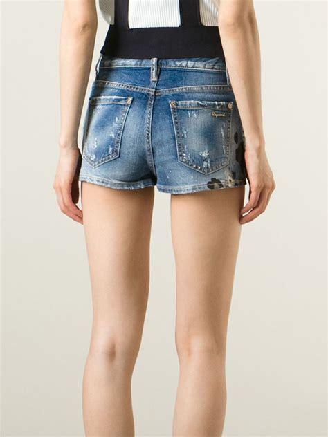 pattern for jeans shorts lyst dsquared 178 leopard pattern denim shorts in blue