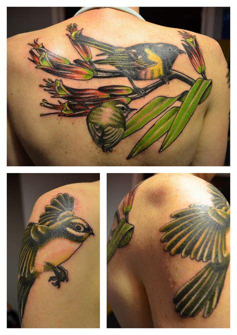 gill tattoo stitchbird rifleman fantail flax nz bird