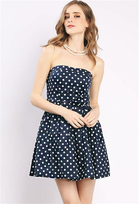 Minidress Polka Spandek strapless polka dot mini dress shop sale at papaya clothing
