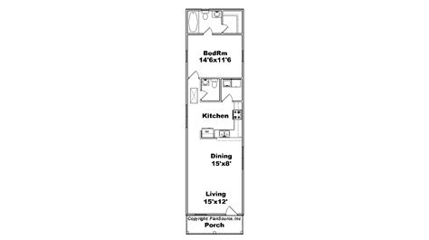 Floor Plans Narrow Lot by 1 Bedroom House Plan Cottage Plansource Inc
