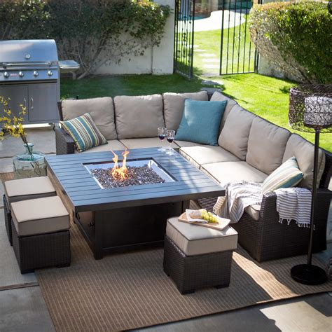 Stunning Patio Set With Fire Pit Table Also Best Patio Set With Firepit Table