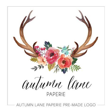 design logo shabby chic premade deer antler logo autumn lane paperie