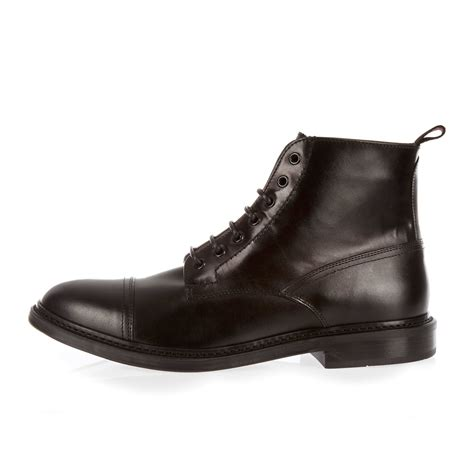 mens black cap toe boots river island black smart leather lace up toe cap boots in