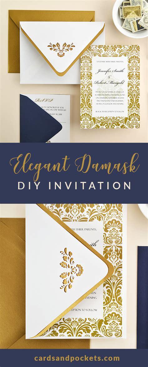 Damask Print Wedding Invitations by Navy Gold Damask Wedding Invitation Cards