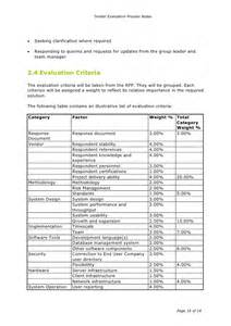 tender evaluation process notes
