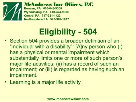section 504 definition special education overview chester