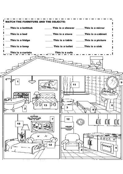 parts house printable exercises 15 best images of house esl worksheets esl house