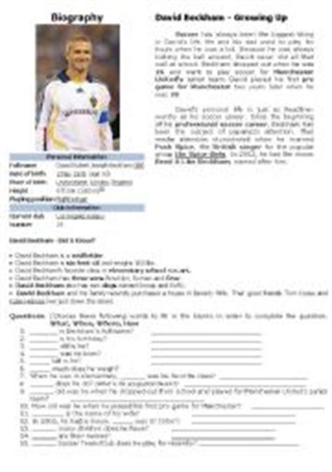 Biography David Beckham In English | english worksheet biography david beckham