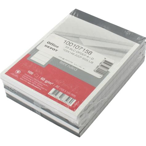 Office Depot Paper by Office Depot Notebook Paper Lined A6 105x148mm