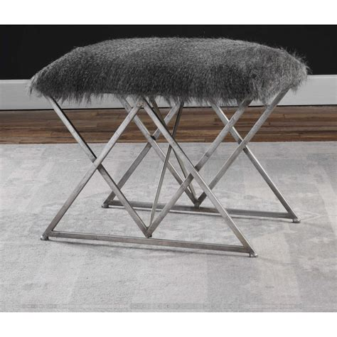 small accent bench uttermost accent furniture 23373 astairess fur small bench