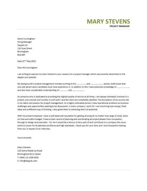 Cover Letter For Cv Manager It Project Manager Cv Template Project Management