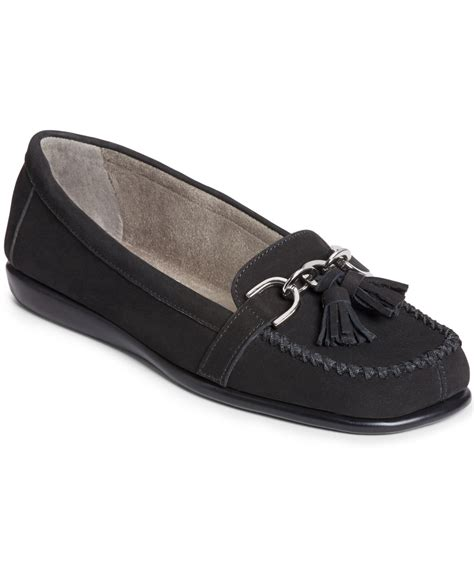 soft flats shoes lyst aerosoles soft flats in black