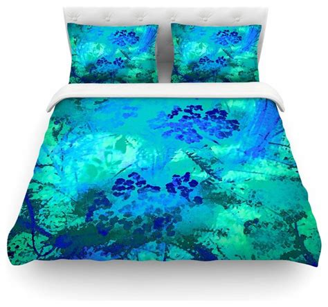Teal Blue Duvet Cover May Quot Wildflower Blue Quot Teal Blue Duvet Cover