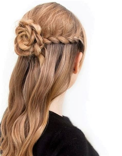 braided updo hairstyle party half up half down for pretty braided flower half updo hairstyle styles weekly