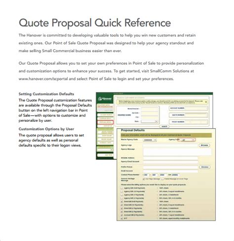 sle quote proposal template 9 free documents in pdf