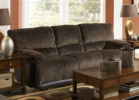 two tone reclining sofa escalade reclining sofa in chocolate walnut two tone
