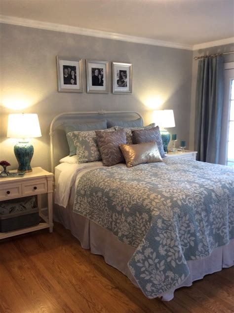 serene blue gold  silver master bedroom eclectic