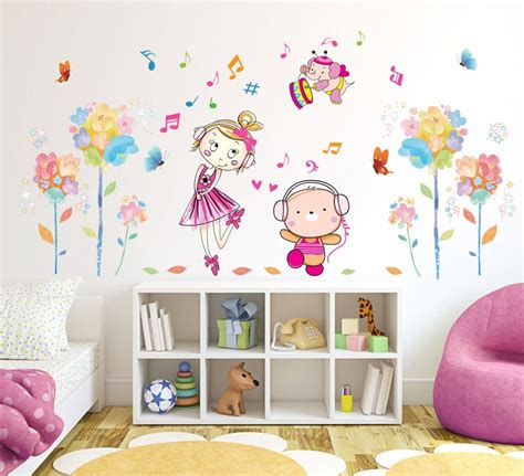 flowers cute girl  wall mural poster home decor kids