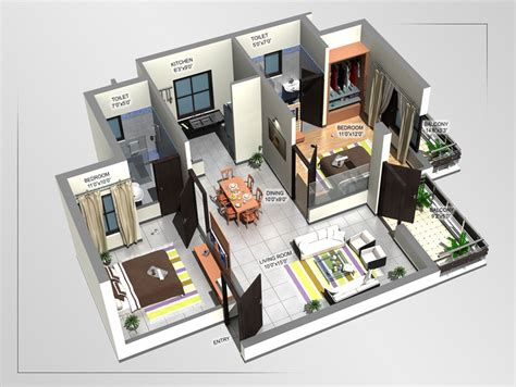 home design 3d 2bhk 3d floor plan 2bhk slab home design joy studio design