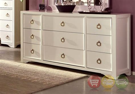 gold dresser furiani white 9 drawer dresser with gold accents